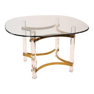 Lucite and Brass Dining Table by Charles Hollis Jones For Sale