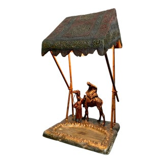 Austrian Cold Painted Bronze Lamp For Sale