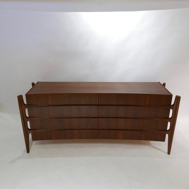 Brown William Hinn Scandinavian Mid-Century Modern Stilted Curved Chest or Dresser For Sale - Image 8 of 13
