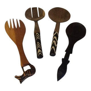 Mid-Century African Hand Carved Teak & Ebony Salad Serving Utensils - Set of 4 For Sale