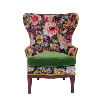 1920s Vintage Victorian Wingback Accent Chair For Sale