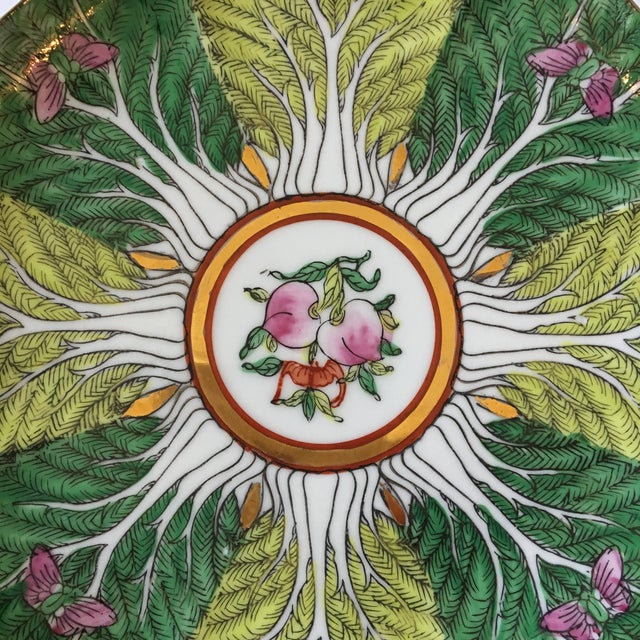 Mid-Century Porcelain Bok Choy Leaf & Butterfly Decorative Scalloped Plate For Sale - Image 9 of 11
