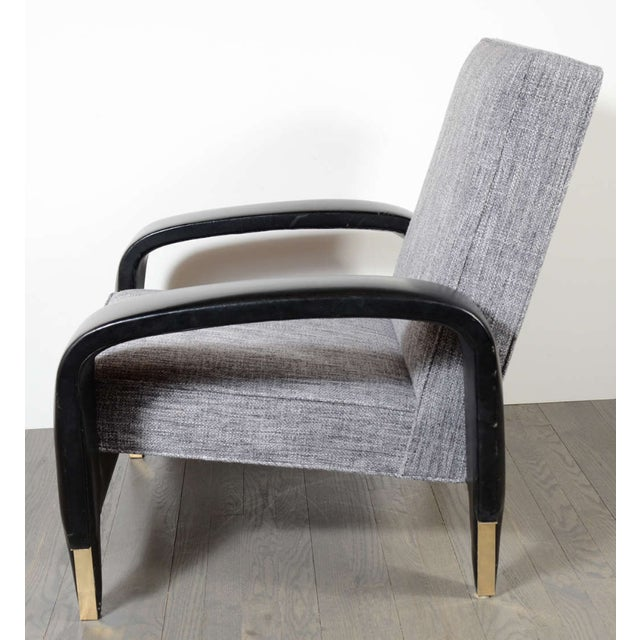 Art Deco Italian Art Deco Gray Upholstered Club Chair For Sale - Image 3 of 7