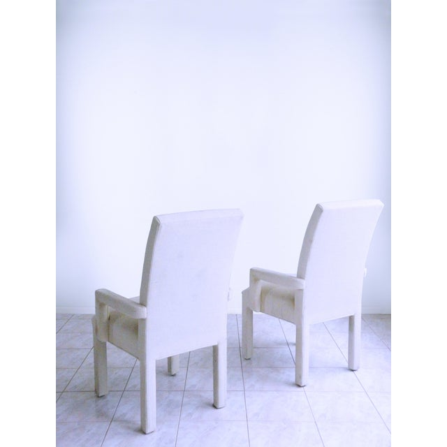 1980s Parsons Armchairs Post Modern Art Deco Inspired Upholstered Chairs - A Pair For Sale - Image 5 of 7