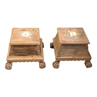 1980s Mexican Pine Hardwood Plinth with Paw Feet - a Pair For Sale