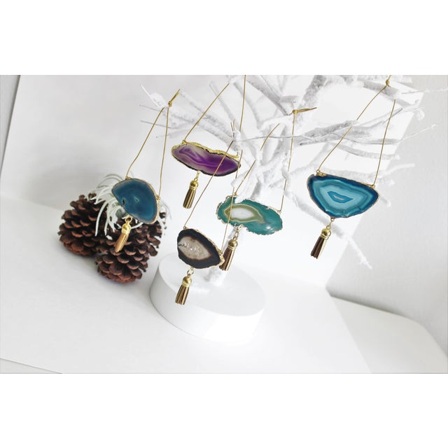 Set of 5 Gold Plated Assorted Agate Ornaments - Image 4 of 9
