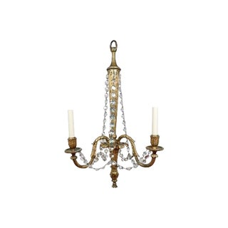 Louis XVI Style Gilt-Bronze and Crystal Three-Arm Chandelier For Sale