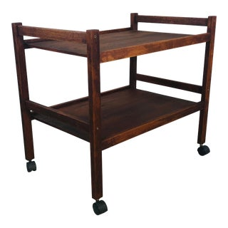 1970s Dark Teak Wood Rolling Cart For Sale