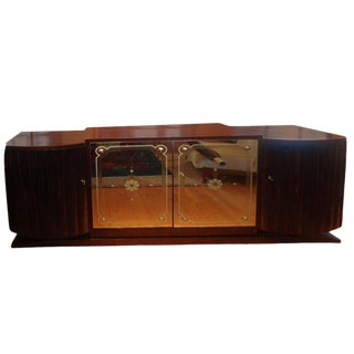 1930s French Art Deco Ruhlmann Inspired Credenza With Mirrored Doors For Sale
