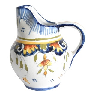 Antique French Rouen Desvres Faience Pottery Pitcher For Sale