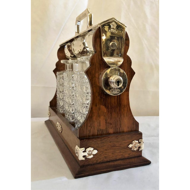 English Traditional Antique English Three Bottle Golden Oak Tantalus, Circa 1880. For Sale - Image 3 of 6