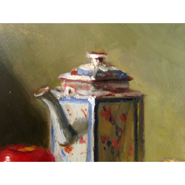 Still Life Painting with Apples, Teapot & Goblet - Image 2 of 3