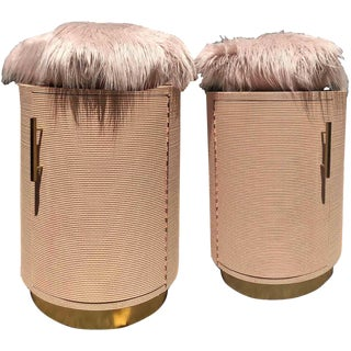 Blush Pink Himalayan Fur Top & Grass Cloth Cylinders - a Pair