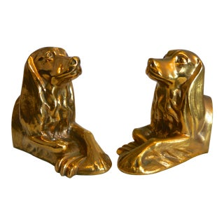 Gold Plated Afghan Hound Bookends - a Pair For Sale