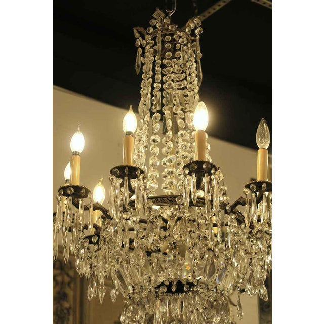 Traditional Antique 10 Arm Crystal Chandelier For Sale - Image 3 of 12