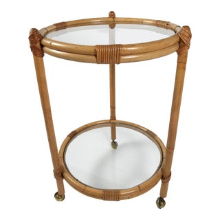 Round Rattan Two-Tier Bar Cart For Sale