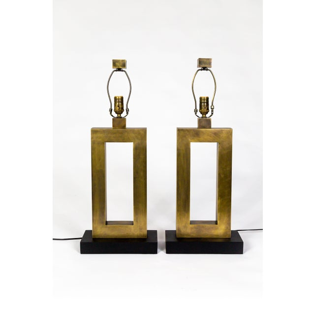 1970s Rectangular Antiqued Brass Table Lamps - a Pair For Sale - Image 11 of 11