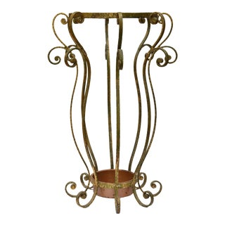 Umbrella Stand in Gilt Wrought Iron For Sale
