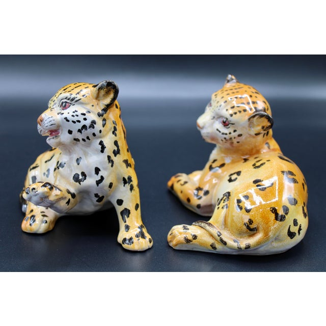Ceramic Mid-20th Century Italian Mottahedeh Terra Cotta Leopards - a Pair For Sale - Image 7 of 13
