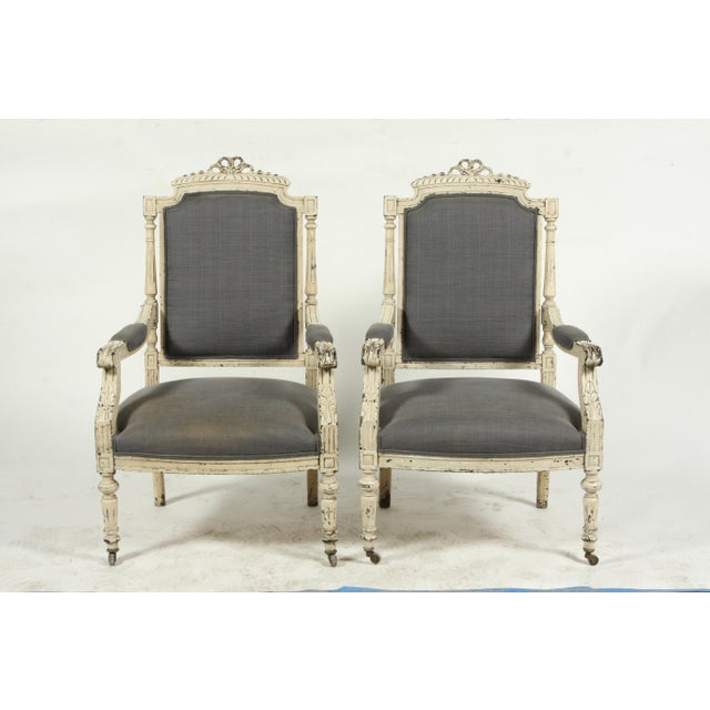 Late 19th-C. French Louis XVI-Style Armchairs, Pair For Sale - Image 12 of 13