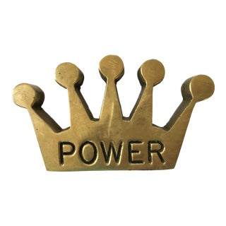 "Mid Century Modern Solid Brass Crown Shaped ""Power"" Paper Weight For Sale"