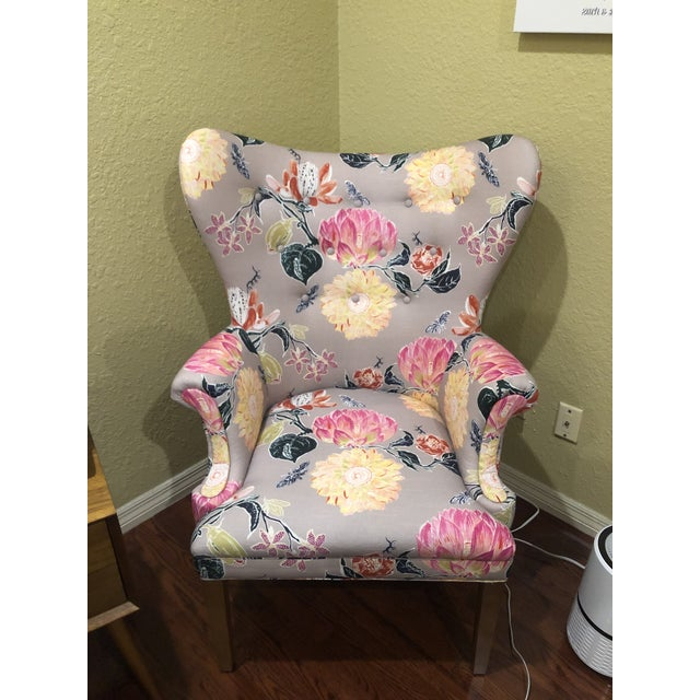 Modern Anthropologie Lotus Blossom Wingback Chair For Sale - Image 11 of 11
