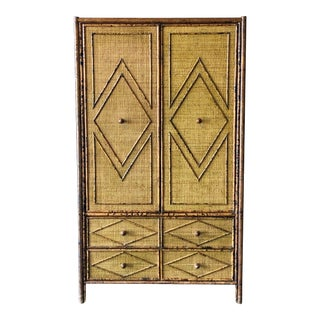 Bamboo and Grasscloth Armoire For Sale