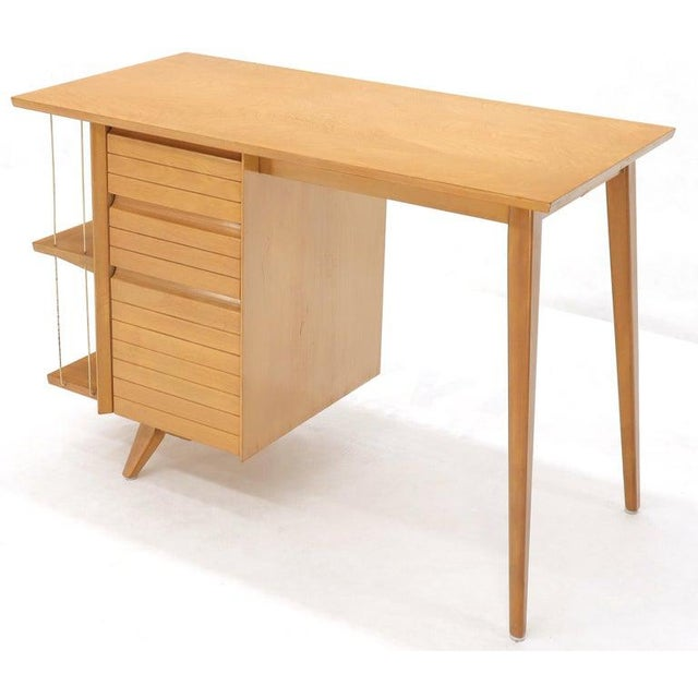 Mid-Century Modern Light Birch Single Pedestal Petit Desk With Bookcase and Three Drawers For Sale - Image 3 of 12