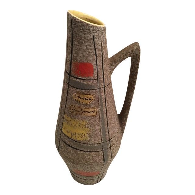 1950s Vintage Scheurich West German Handmade Ceramic Vase With Label For Sale