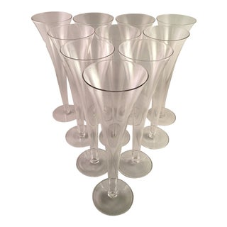 Trumpet Style Champagne Flutes With Hollow Stems - Set of 10 For Sale