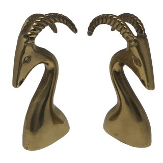 A Pair of Vintage Brass Ram Busts For Sale
