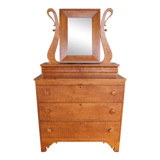 Antique Tiger Maple 2 Over 3 Drawer Chest & Mirror For Sale
