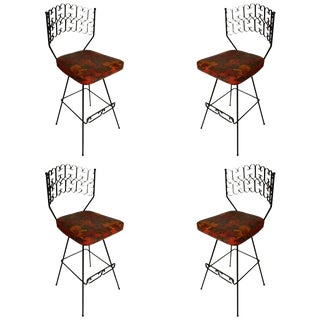 Set of Four Classic Arthur Umanoff Swivel Bar Counter Stools For Sale