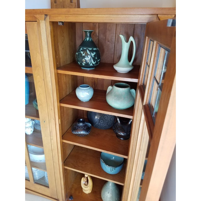 Brown Stickley Cherry Leaded Glass Double Door Bookcase For Sale - Image 8 of 13