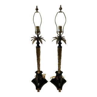 1980s Contemporary Brass and Iron Palm Lamps For Sale