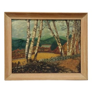 Vintage Mountain View & Lake Painting For Sale