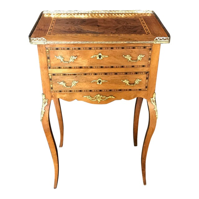 Louis XV Style Inlaid Night Stand or Side Table With Gold Fretwork For Sale