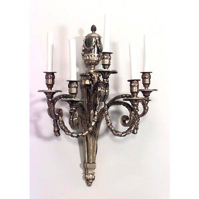French Louis XVI Style 19th-20th Century Bronze Doré Five-Arm Wall Sconces - a Pair For Sale - Image 3 of 5