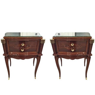 Jules Leleu Style French Art Deco Night Stands - a Pair For Sale