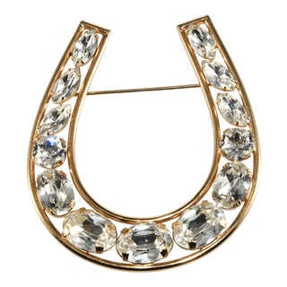 Napier Horseshoe Clear Rhinestone Brooch For Sale