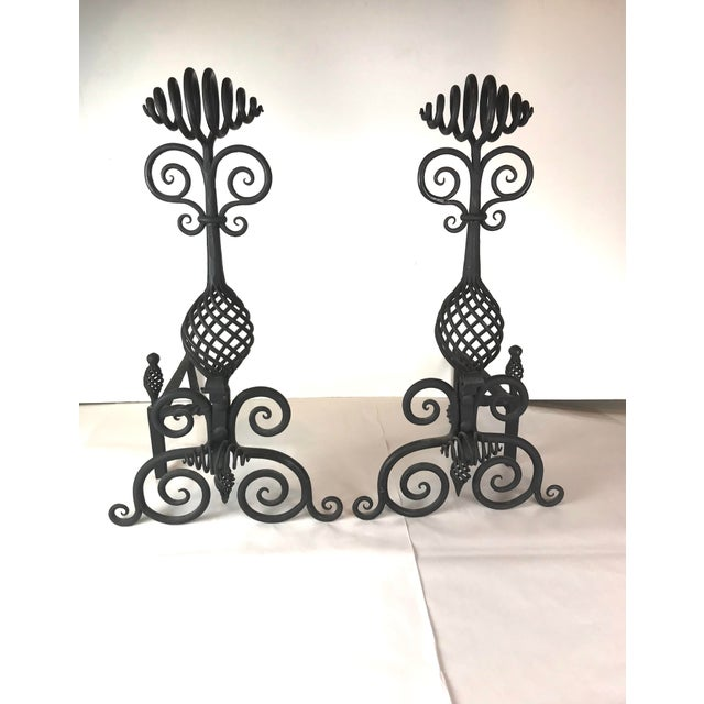 Arts & Crafts Mid Century Art and Crafts Wrought Iron Hand Frogged Iron Andirons for Fire Place - a Pair For Sale - Image 3 of 13