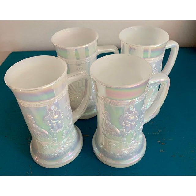 Mid-Century Fenton Federal Iridescent White Carnival Glass Tavern Scene Stein/Mug - Set of 4 For Sale - Image 9 of 9