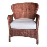 Image of Vintage Wicker Rattan Captain Chair For Sale