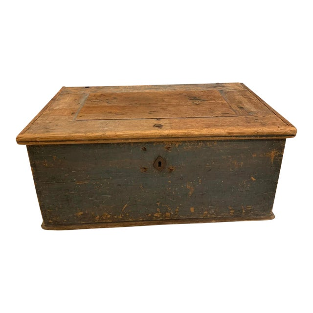 19th Century Patinaed Wooden Trunk For Sale