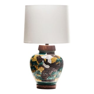 Lawrence & Scott Kutani Eagle and Trees Porcelain Table Lamp With Shade For Sale