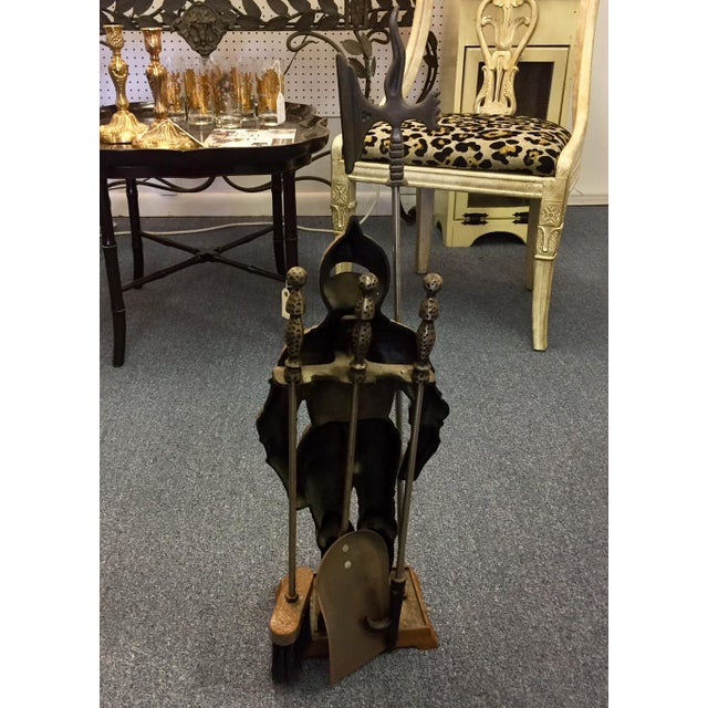 "1950s ""Sir Fireplace"" Fireplace Tool Set and Stand For Sale - Image 5 of 7"