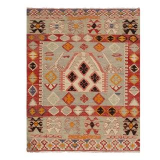 Vintage Gal Blue and Red Wool Kilim Rug - 3′9″ × 4′4″ For Sale