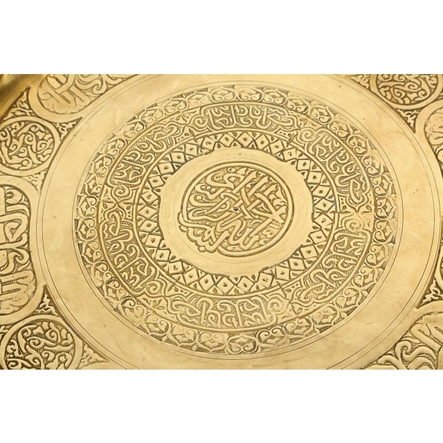 Moorish Brass Tray Side Table For Sale In Los Angeles - Image 6 of 10