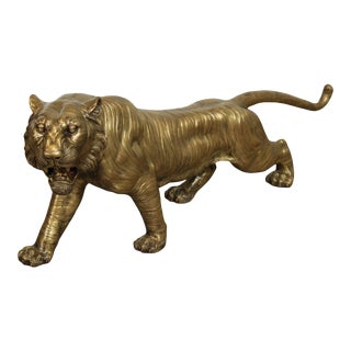 C. Valton Signed Bronze Tiger Statue For Sale