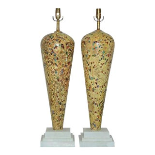 Vintage Murano Glass Table Lamps Gold Jewels- A Pair For Sale